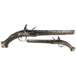 "1700s European flintlock pistol stamped with ""London."""