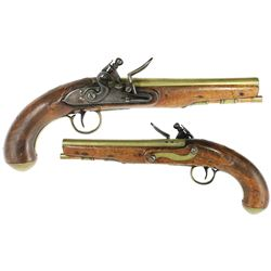 "Late-1700s English brass-barreled officer's pistol with flintlock signed ""Taylor."""