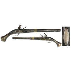 Late-1700s European flintlock pistol with silver presentation plate inscribed to Stephen Decatur, Jr