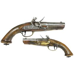 Late-1700s Dutch or French flintlock naval boarding pistol.