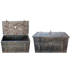 "Iron ""armada"" (Nuremburg) chest, 1600s-1700s."