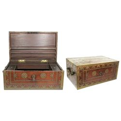 Large, heavy, British colonial money chest (1800s).