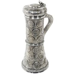 Large silver tankard (probably 1800s) made from 43 Spanish milled silver 8R and 2R (some replicas) d
