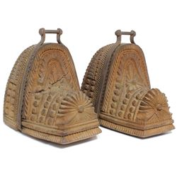Pair of 1700s Spanish colonial carved wood stirrups (estribos).