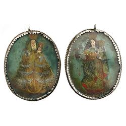 Large, ornate, silver reliquary pendant with painted virgin and child on both sides, Spanish colonia
