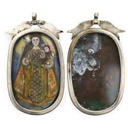 Large, ornate, silver reliquary pendant with painted virgin and child, Spanish colonial, late 1700s