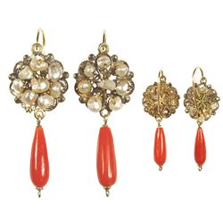 Matching pair of ornate gold, red coral and natural pearl earrings, Spanish colonial, late 1700s to