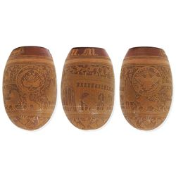 Coconut toasting cup engraved with US Five Dollar reverse design, Nicaragua arms and initials MM (18