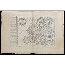 French copperplate-engraved map of Europe by Philippe de Pretot, 1769.
