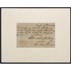 "Handwritten receipt dated 1809 for ""Eighteen Chests of Treasure"" from the East India Company vessel"
