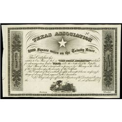 Louisville, Kentucky, Texas Association (Republic of Texas), stock certificate remainder, ca. 1858,