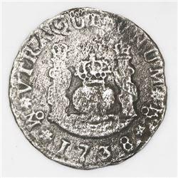 Mexico City, Mexico, pillar 1 real, Philip V, 1738MF, unique provenance.