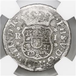 Mexico City, Mexico, pillar 1 real, Philip V, 1744M, NGC genuine / El Cazador.