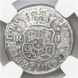 Mexico City, Mexico, pillar 1 real, Philip V, 1746M, NGC genuine / El Cazador.