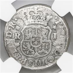 Mexico City, Mexico, pillar 1 real, Philip V, 1746M, NGC genuine / El Cazador.