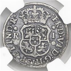 Mexico City, Mexico, pillar 1 real, Ferdinand VI, 1748/7M, NGC genuine / El Cazador.