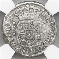 Mexico City, Mexico, pillar 1 real, Ferdinand VI, 1748M, NGC genuine / El Cazador.