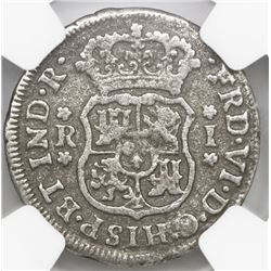 Mexico City, Mexico, pillar 1 real, Ferdinand VI, 1753M, NGC genuine / El Cazador.