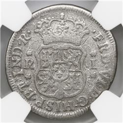 Mexico City, Mexico, pillar 1 real, Ferdinand VI, 1757M, NGC genuine / El Cazador.