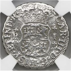 Mexico City, Mexico, pillar 1 real, Charles III, 1761M, plain cross above and below R and I, NGC gen