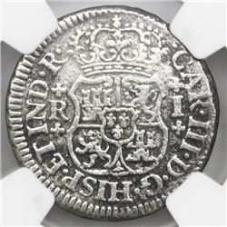 Mexico City, Mexico, pillar 1 real, Charles III, 1768M, broken o in mintmark, NGC genuine / El Cazad