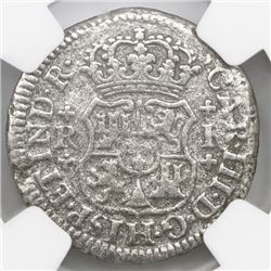 Mexico City, Mexico, pillar 1 real, Charles III, 1769M, NGC genuine / El Cazador.