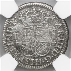 Mexico City, Mexico, pillar 1 real, Charles III, 1771F, NGC genuine / El Cazador.
