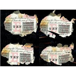 Lot of four Calcutta, British India, 10 rupees notes, 25-1-1916, series AC, serials 80374, 80381, 80