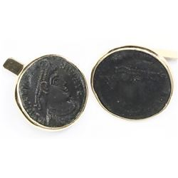 "Pair of 18K gold cufflinks made from Roman Empire AE follis of Constantine I (""the Great""), 4th cent"