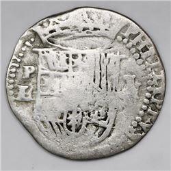 Potosi, Bolivia, cob 1 real, Philip II, assayer L/M (1st period), rare.