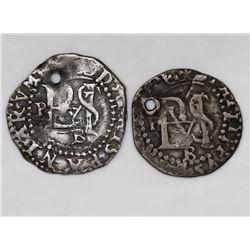 Lot of two Potosi, Bolivia, cob 1/2R, Philip II, assayer B (2nd period).