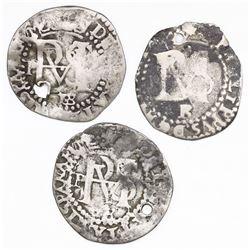 Lot of three Potosi, Bolivia, cob 1/2R, Philip II, assayer B (1st, 2nd and 3rd periods).