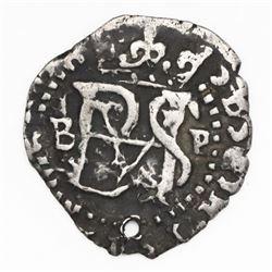 Potosi, Bolivia, cob 1/2 real, Philip II, assayer B (5th period) to left, mintmark P to right, ex-Ka
