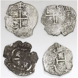 Lot of four Potosi, Bolivia, cob 2 reales, all salvaged: 1661( E), 1665E, 1703Y and 1707(?)Y.