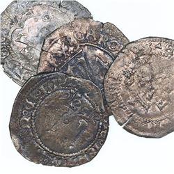 Lot of four Santo Domingo, Dominican Republic, copper 4 maravedis, Charles-Joanna, assayer F, differ