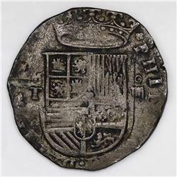 Toledo, Spain, cob 4 reales, Philip II, assayer M above mintmark T to left.