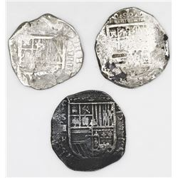 Lot of three Seville, Spain, cob 4 reales: 1591H, 1623, 1626?.