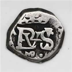 Madrid, Spain, cob 1/2 real, Philip IV, assayer A to left, mintmark MD to right (1651).