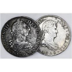 Lot of two Potosi, Bolivia, bust 8 reales: Charles III 1780PR; Ferdinand VII 1808PJ.