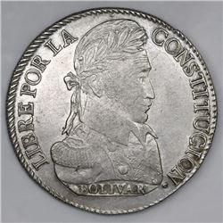 Potosi, Bolivia, 8 soles, 1827JM, laureate head.