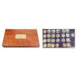 Set of 25 British Virgin Islands proof 25 dollars, Queen Elizabeth II, 1988, in promotional set prin