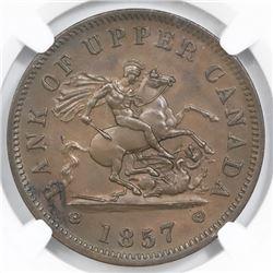 Canada, Bank of Upper Canada, bronze penny, 1857, MS 62 Brown.