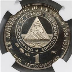 Central American Union, proof silver 1 peso medallic coinage, 1971, ODECA 20th anniversary, NGC PF 6