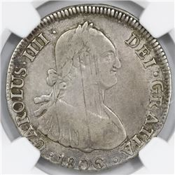 Santiago, Chile, bust 4 reales, Charles IV, 1806FJ, NGC F 12.