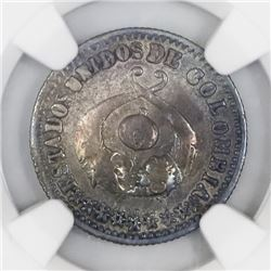 Popayan, Colombia, 1 decimo, 1864, NGC VF details / cleaned.