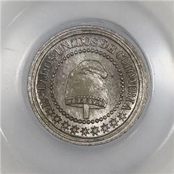 Colombia (struck in Birmingham), copper-nickel 1-1/4 centavos, 1874, PCGS MS66.