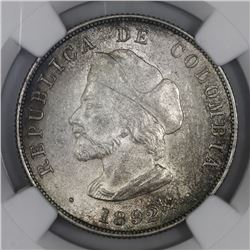 Bogota, Colombia, 50 centavos, 1892, Columbus, small bust (cap points to right of A), NGC MS 63.