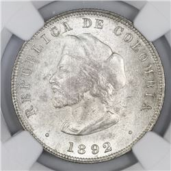 Bogota, Colombia, 50 centavos, 1892, Columbus, large bust (cap points to left of A), NGC MS 62.