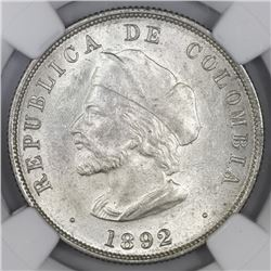Lot of two Bogota, Colombia, 50 centavos, 1892, Columbus, both varieties (small and large bust), NGC