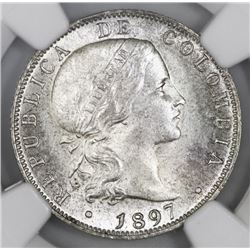 Bogota, Colombia (struck in Brussels), 20 centavos, 1897, NGC MS 63.